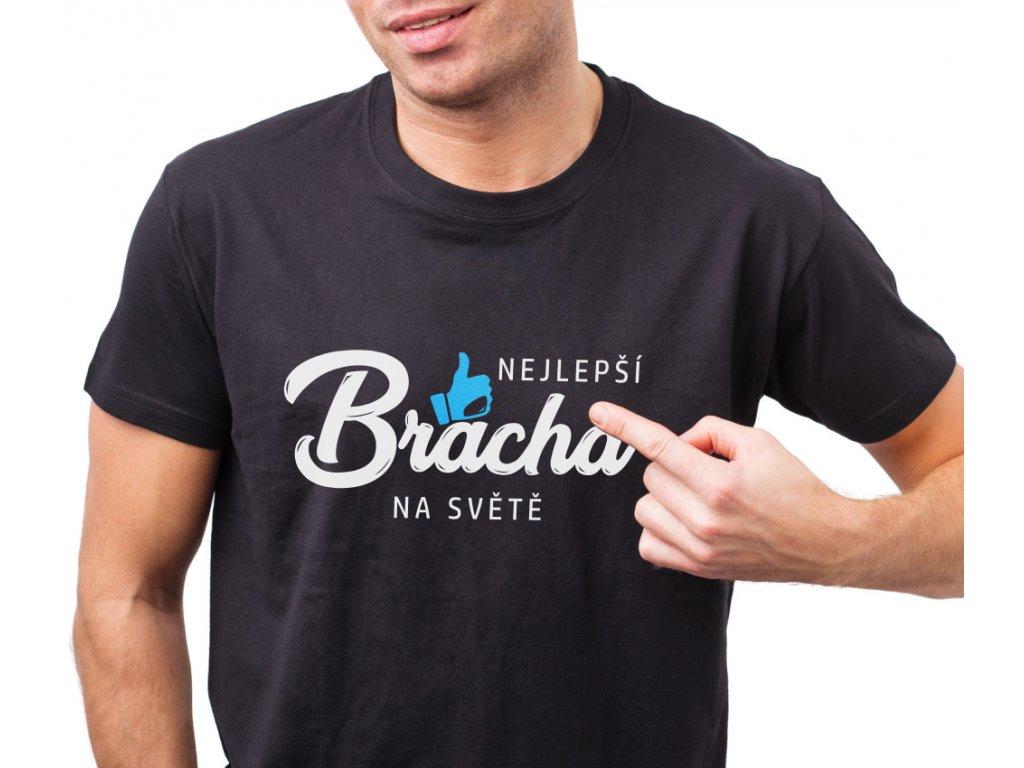 Tričko s potiskem pro bratra NEJLEPŠÍ BRÁCHA na světě LIKE černé s bílo modrým potiskem