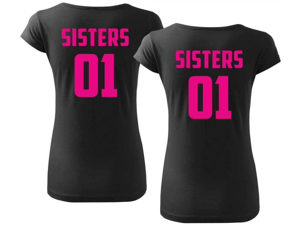 da762786064 ... Trička pro kamarádky BFF SisterS 02 černé s růžovým potiskem 2