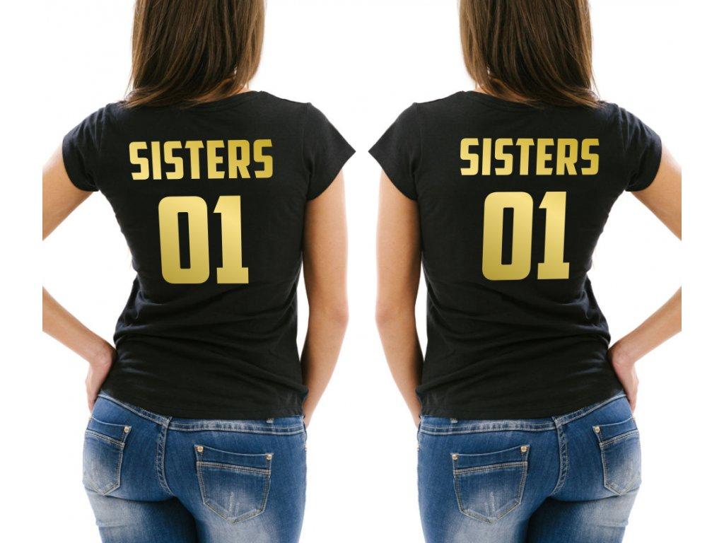 f860e15b9df Trička pro kamarádky BFF SisterS 02 černé se zlatým potiskem