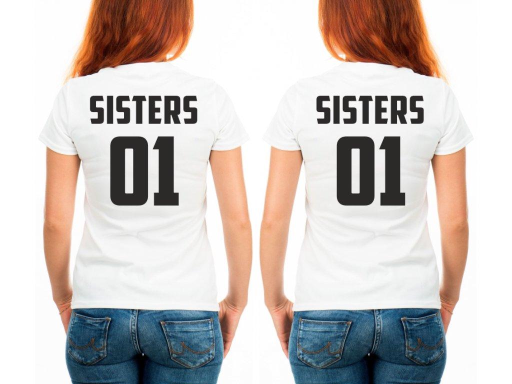 Trička pro kamarádky BFF SisterS 02 bílé s černým potiskem