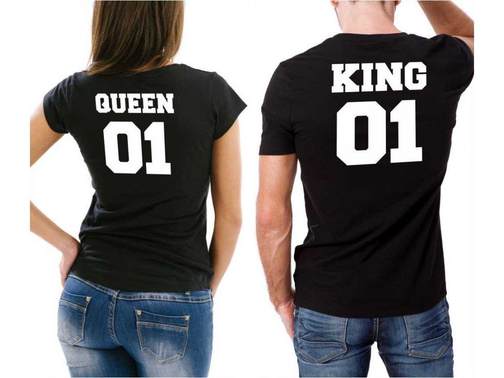 Černé Trička pro Páry KING a QUEEN 02 s potiskem