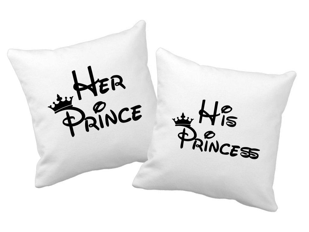 Polštářky pro páry Her Prince His Princess černý potisk