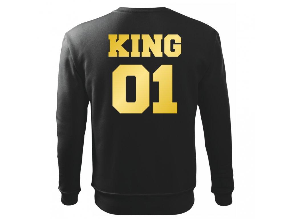 Pánská černá mikina bez kapuce KING 01 se zlatým potiskem Výprodej