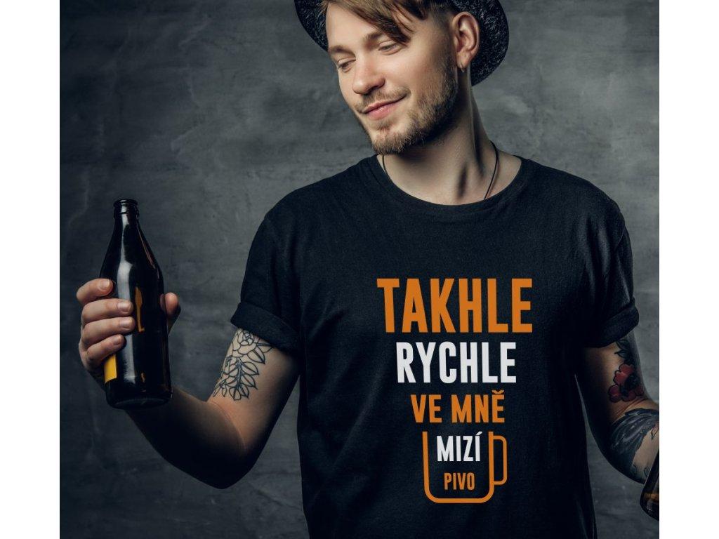 Pánské tričko Takhle rychle ve mě mizí pivo černé s bílo oranžovým potiskem