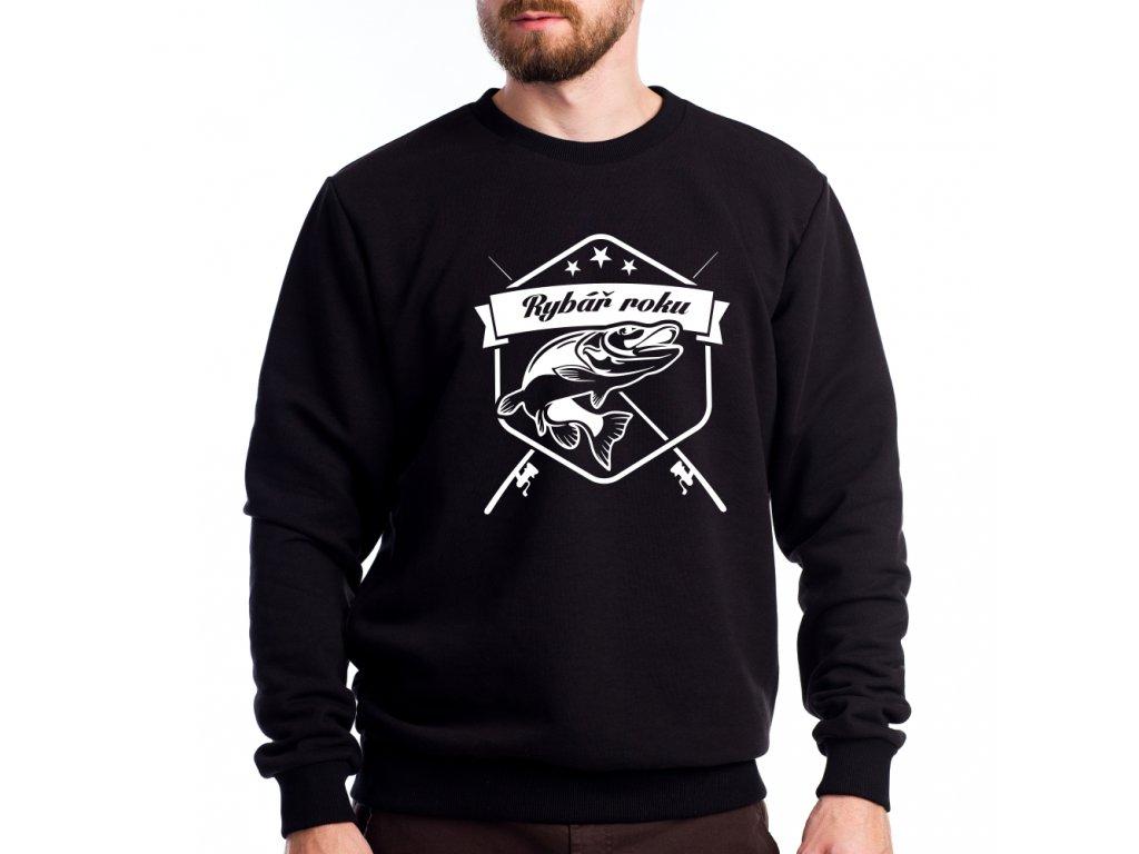 Pánská mikina pro rybáře s potiskem rybář roku černá