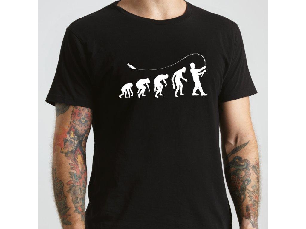 Tričko pánské pro rybáře s potiskem EVOLUCE RYBAŘENÍ černé