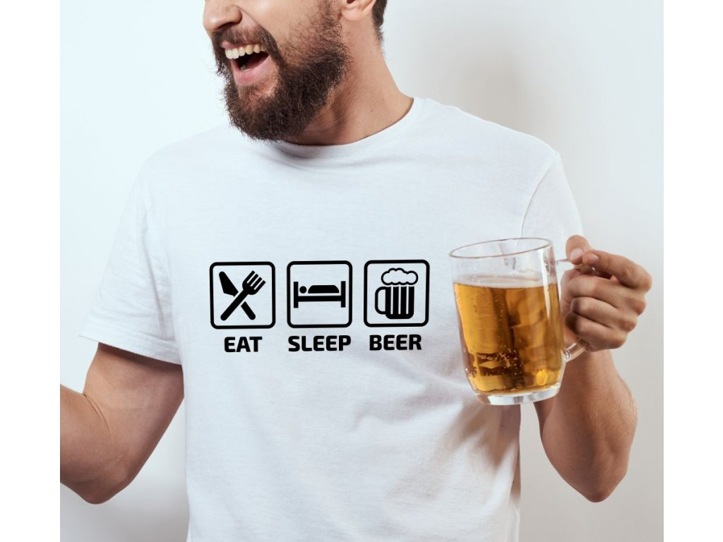 Pánské tričko pro pivaře s potiskem EAT SLEEP BEER bílé