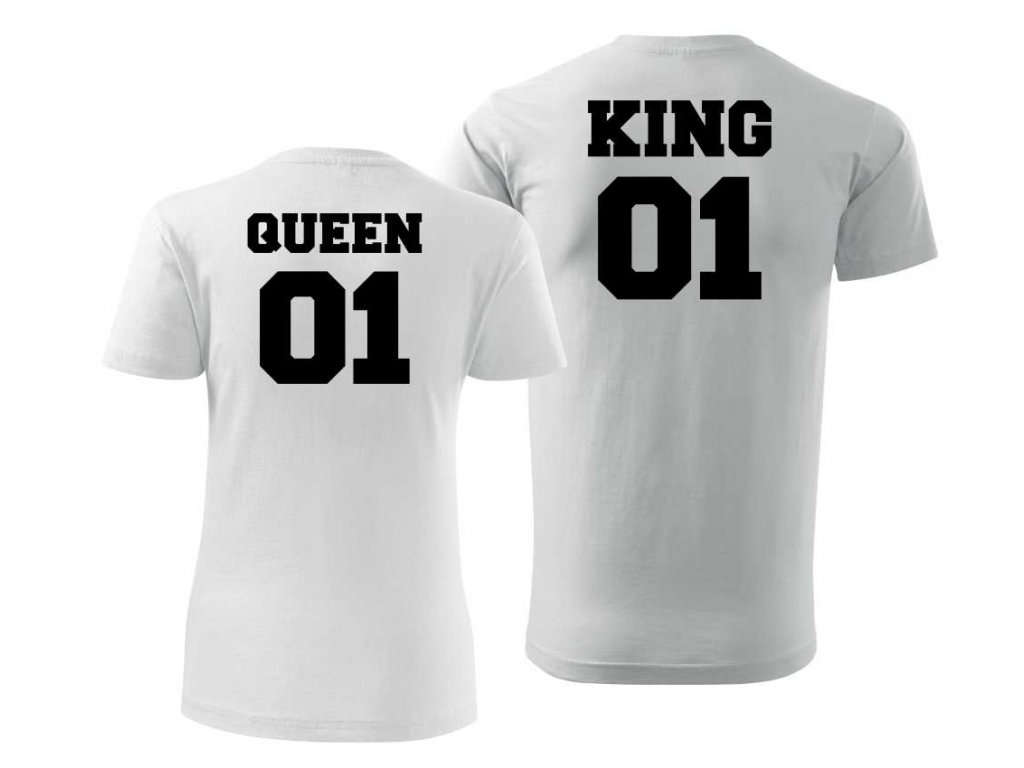... Bílé Trička pro Páry KING a QUEEN 03 s Černým potiskem ... 84398ab2ef
