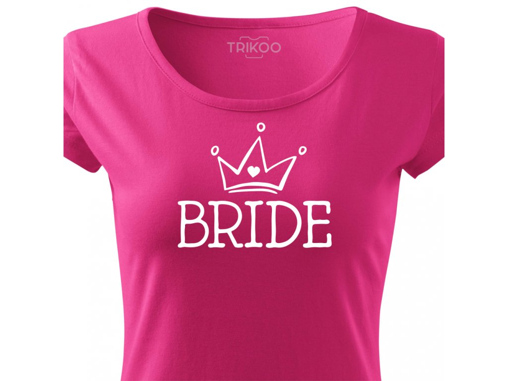 Dámské tričko na rozlučku se svobodou pro nevěstu BRIDE HAND růžové bílý potisk detail