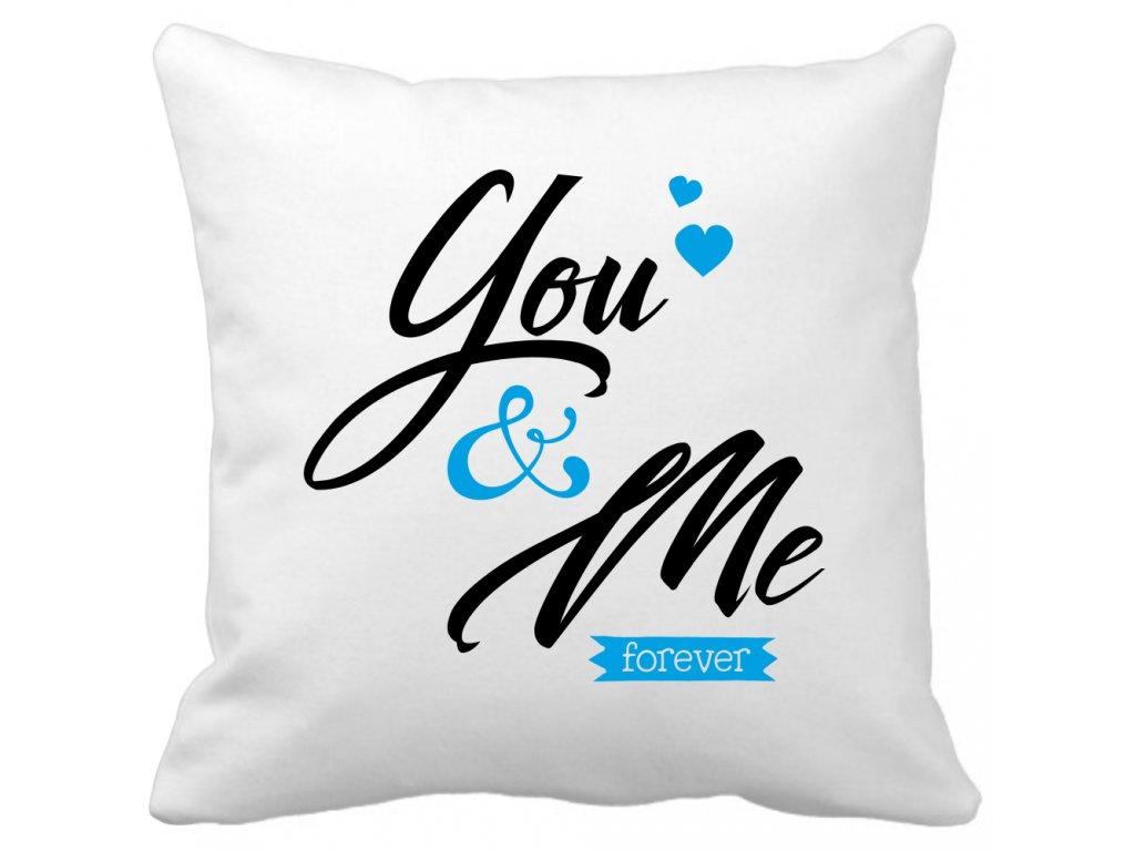 Polštářek na valentýna pro zamilované páry You and Me modrá