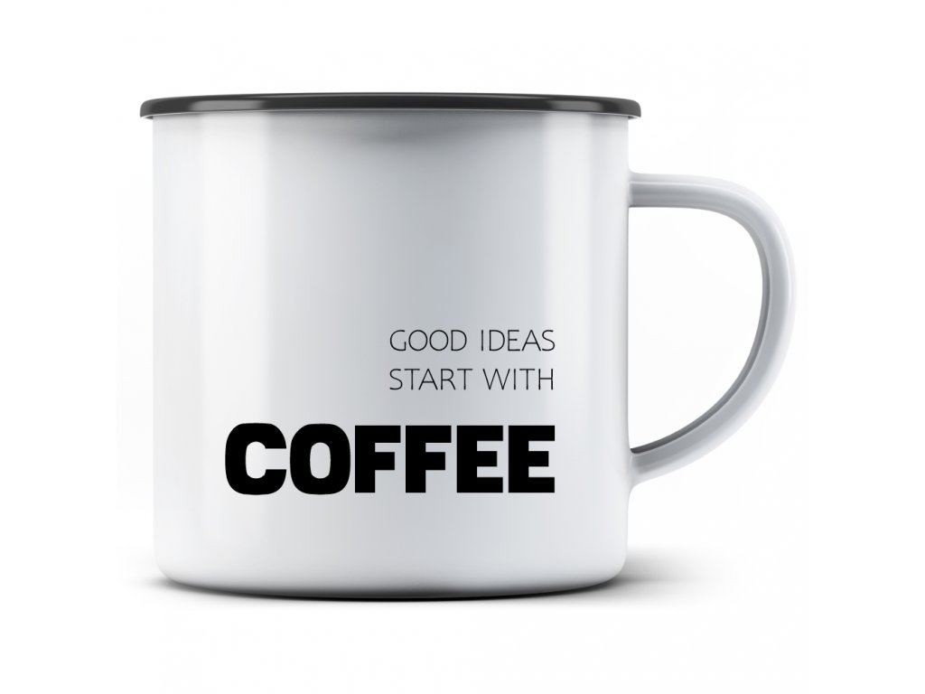 Plecháček s potiskem motivu kávy Good ideas start with COFFEE minimal