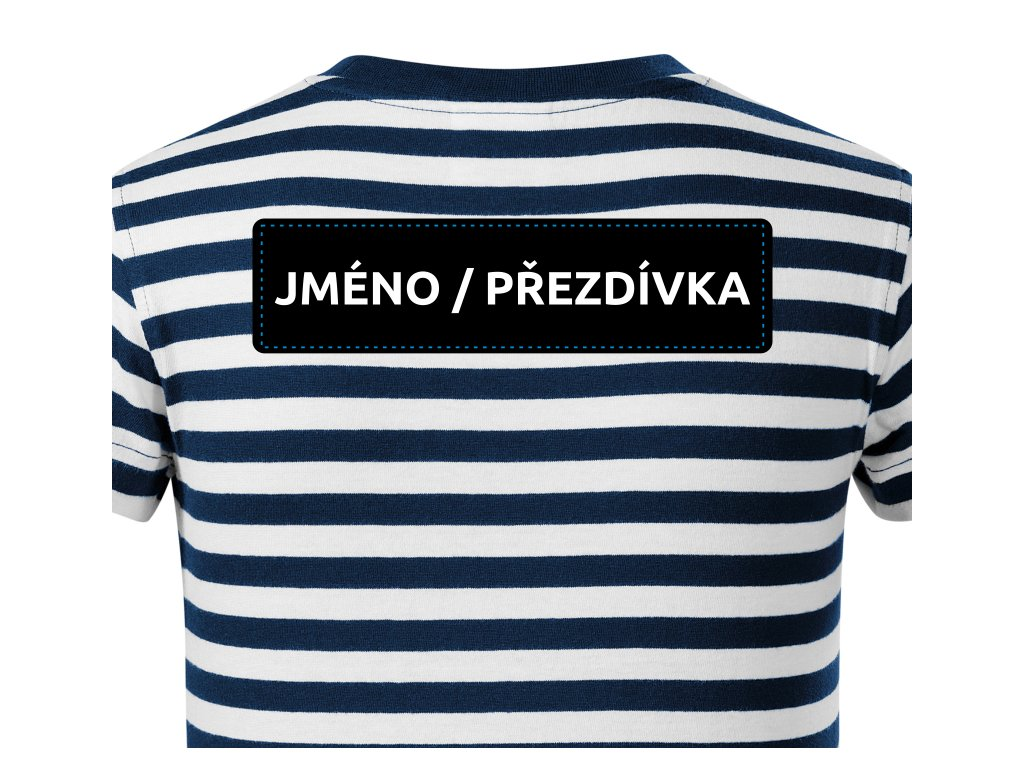 Dotisk JMÉNO na ZÁDA pro trička SAILOR bílý text