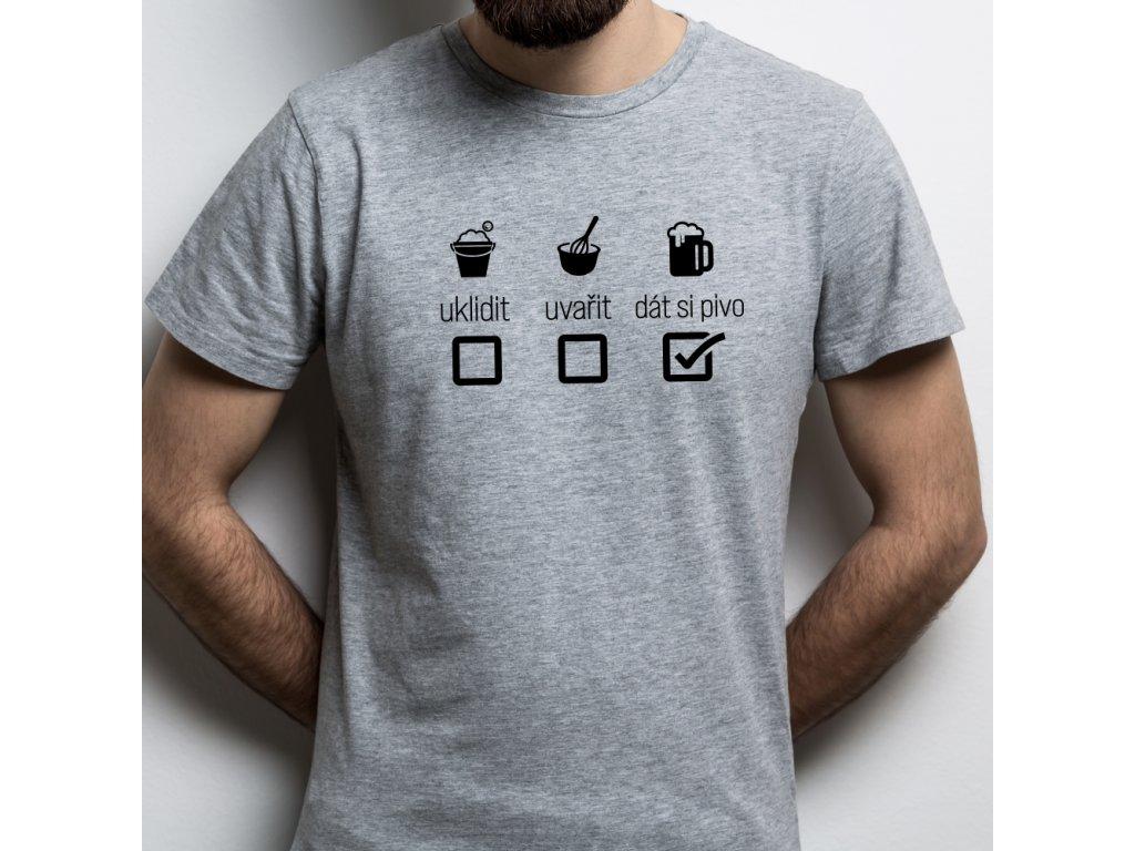 Pánské tričko pro pivaře s motivem domácí práce PIVO šedé