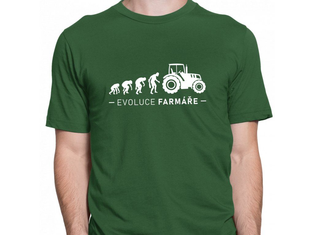 Pánské tričko pro Farmáře a Zemědělce Evoluce Farmáře lahvově zelené