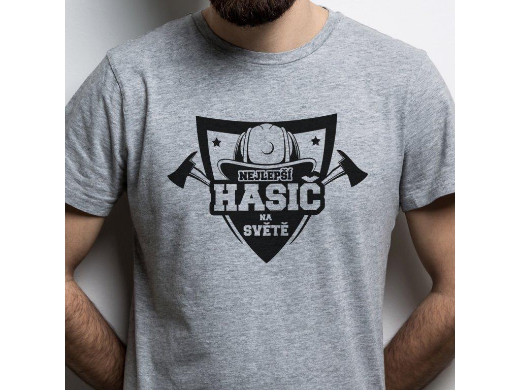Pánské tričko pro hasiče Nejlepší hasič na světě šedé