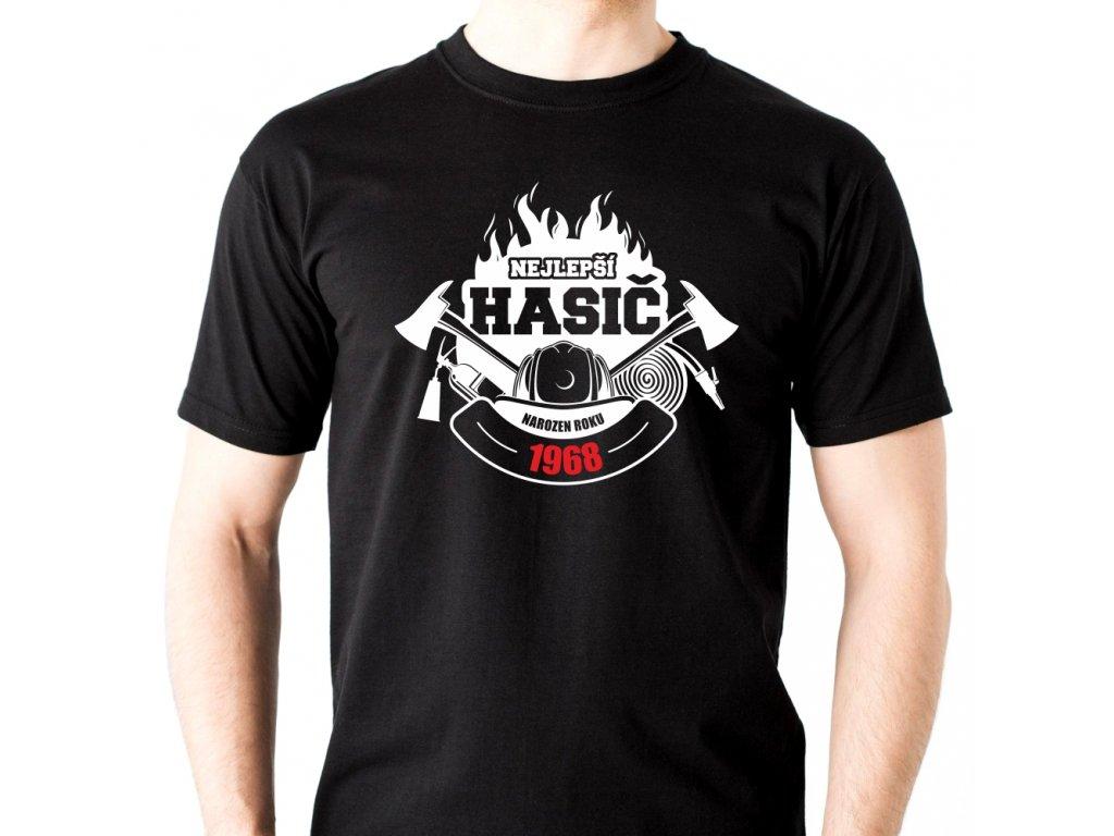 Pánské tričko pro hasiče Nejlepší hasič narozen ROKU černé
