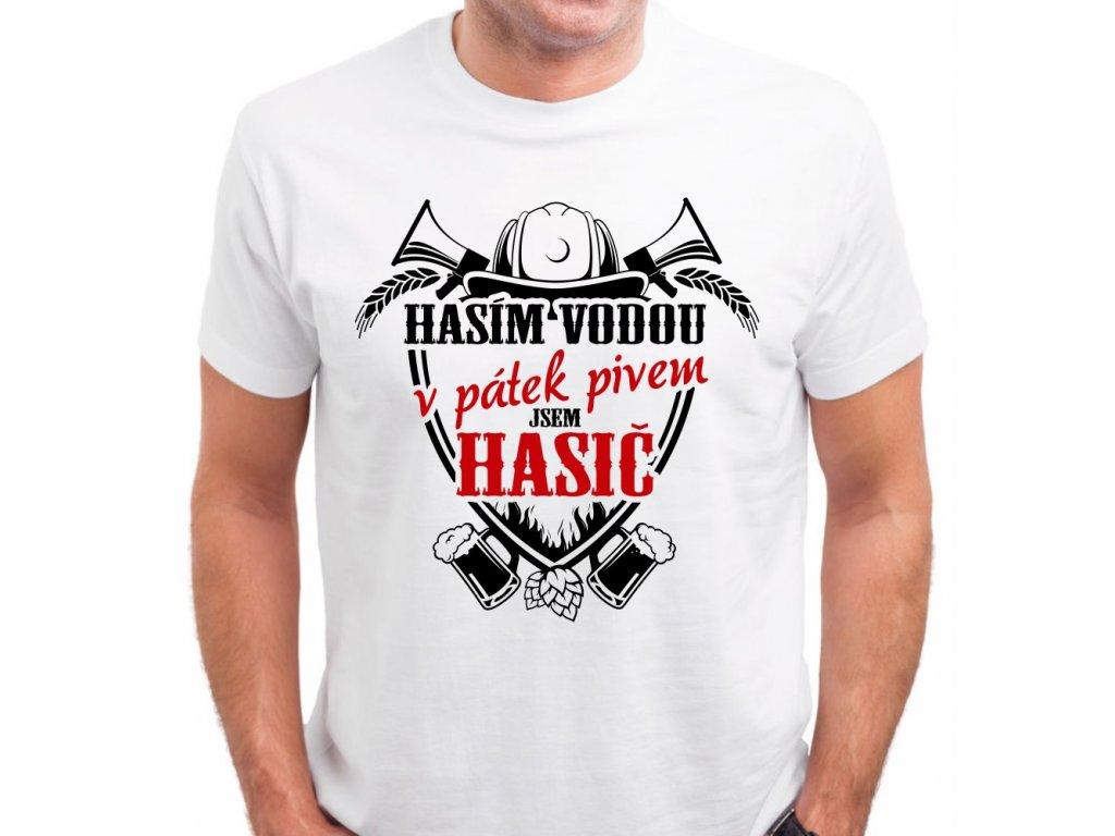 Pánské tričko pro hasiče Hasím vodou, v pátek PIVEM bílé