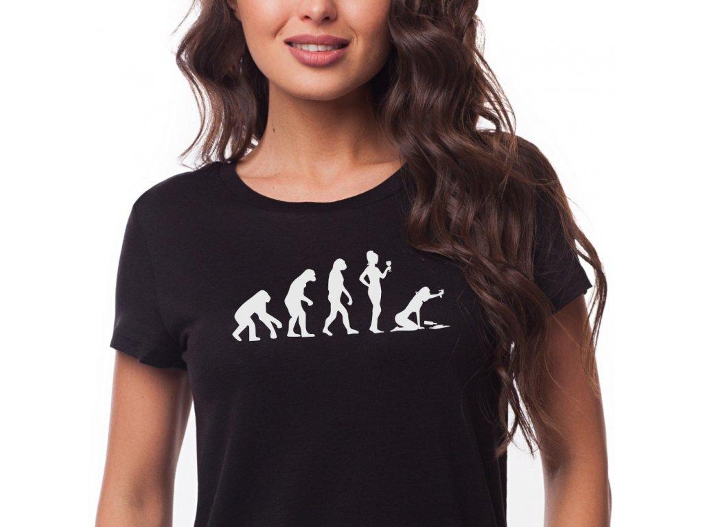Dámské vtipné tričko Evoluce VÍNA černé