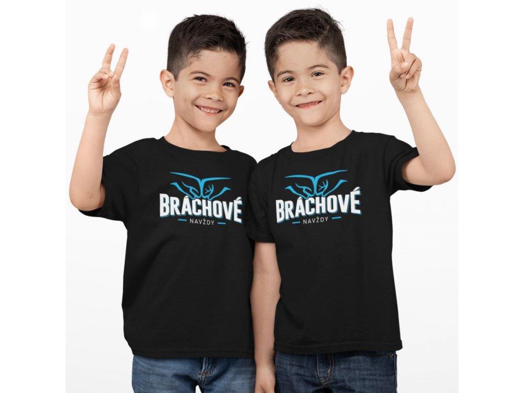 Set DĚTSKÝCH triček pro bratry Bráchové navždy černá trička 02b