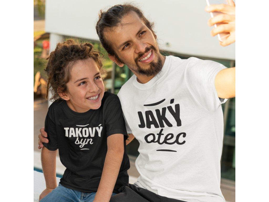 Set triček Jaký OTEC bílé takový SYN černé
