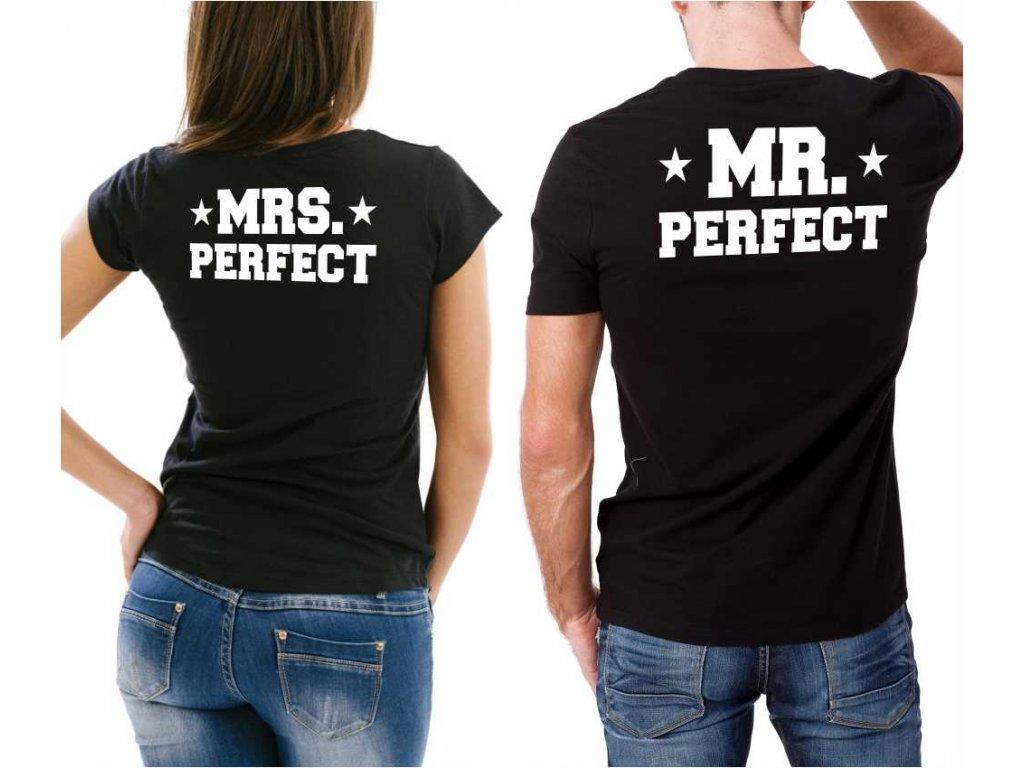 Černé trička pro páry MR a MRS PERFECT
