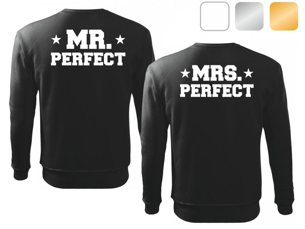 Sada černých mikin pro páry MR a MRS PERFECT bílý potisk