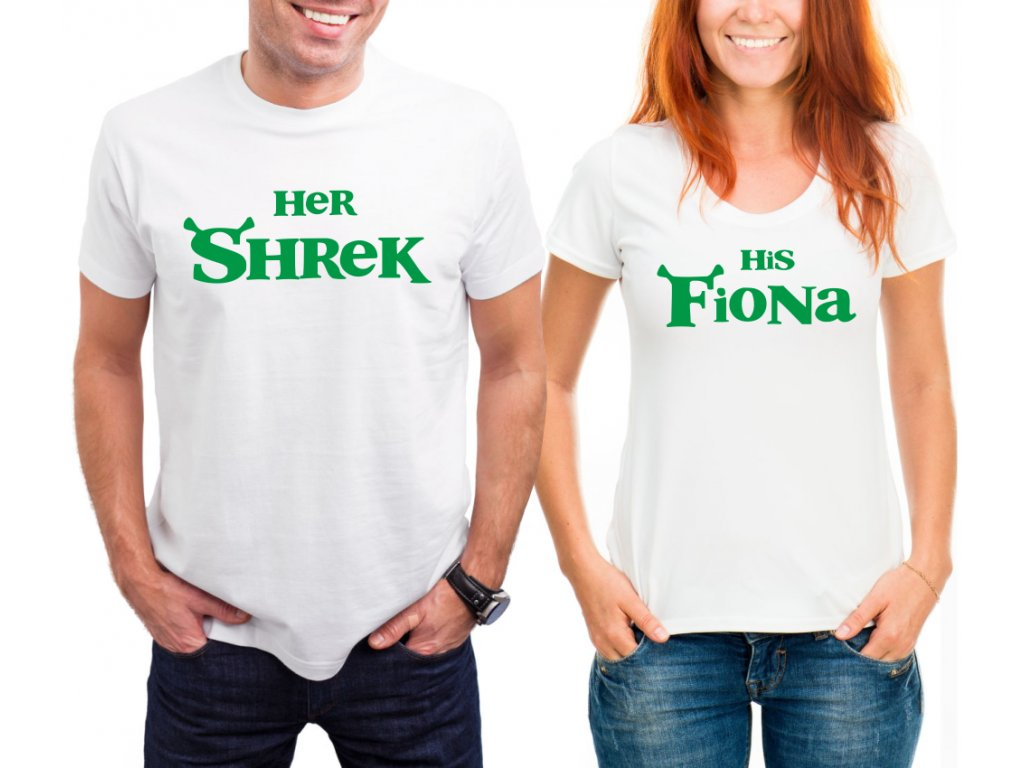 Trička pro páry Shrek a Fiona Bílé a Zelený potisk