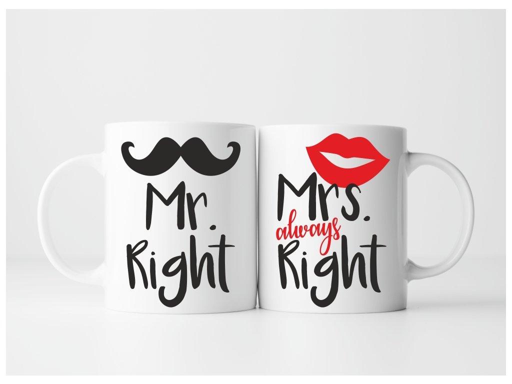 Sada Hrnečků pro páry Mr a Mrs Right Crazy bílé