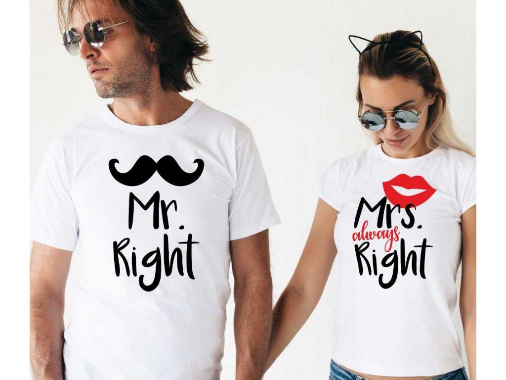 Bílé Trička pro páry Mr a Mrs Right Crazy