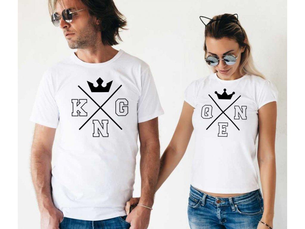 Trička pro páry King a Queen Minimalism Bílé