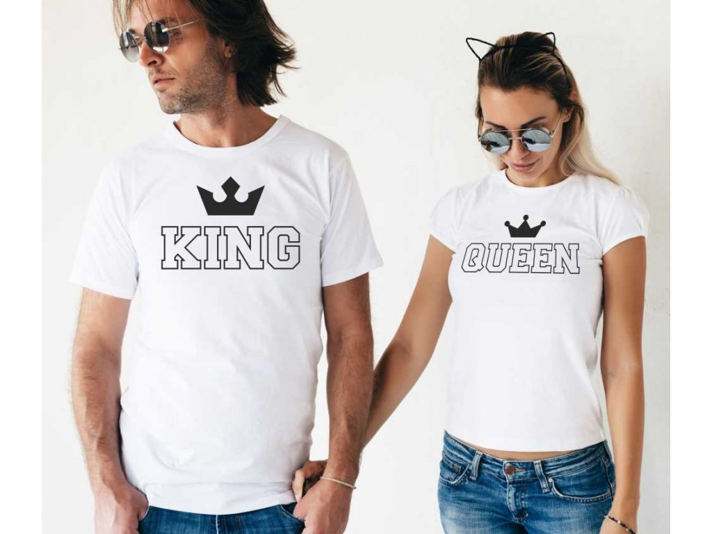Trička pro páry King a Queen Outline Bílé