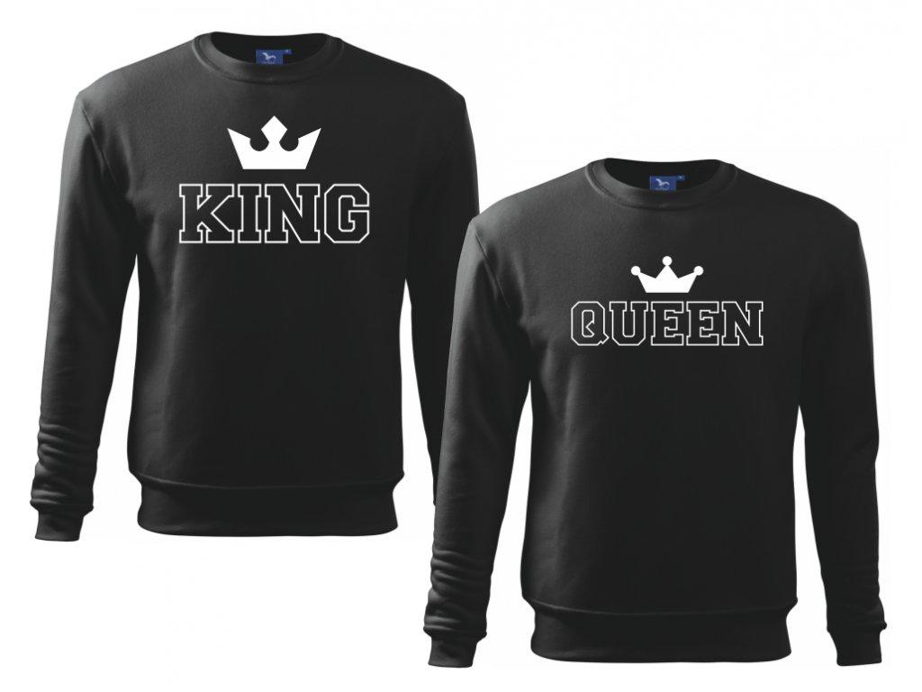 Sada mikin pro páry King a Queen Outline Černá bílý potisk