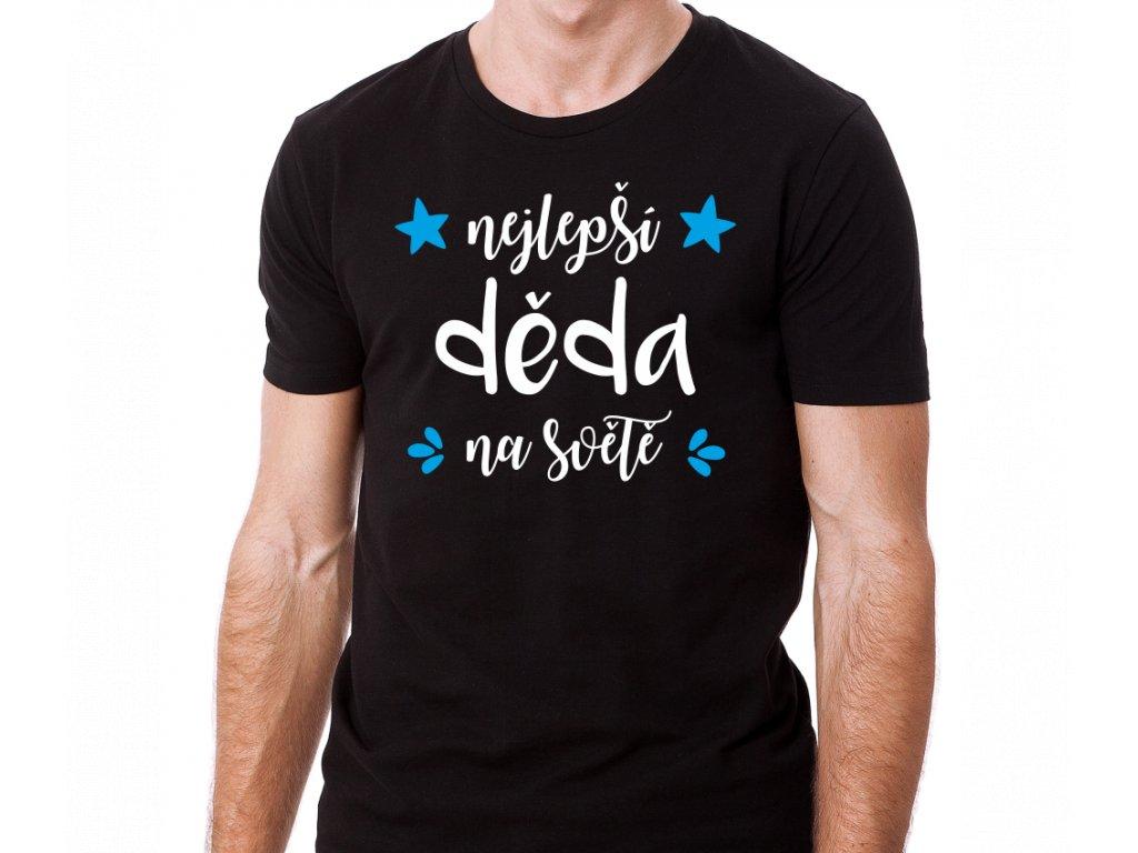 tričko Nejlepší Děda na světě černé bílo modrý potisk