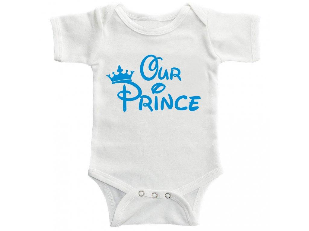 Dětské Body s potiskem Our Prince Modrý potisk