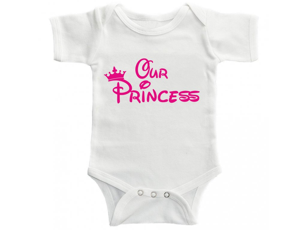 Dětské Body s potiskem Our Princess Růžový potisk