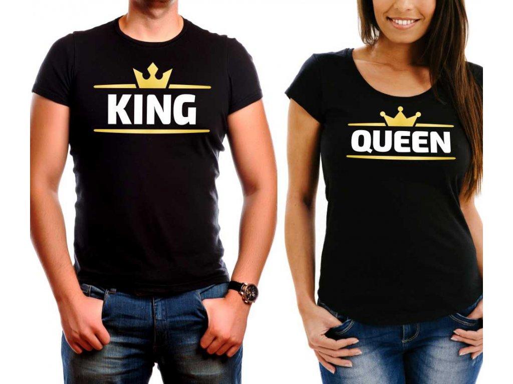 King a Queen TOP FRONT černé bílá zlatá