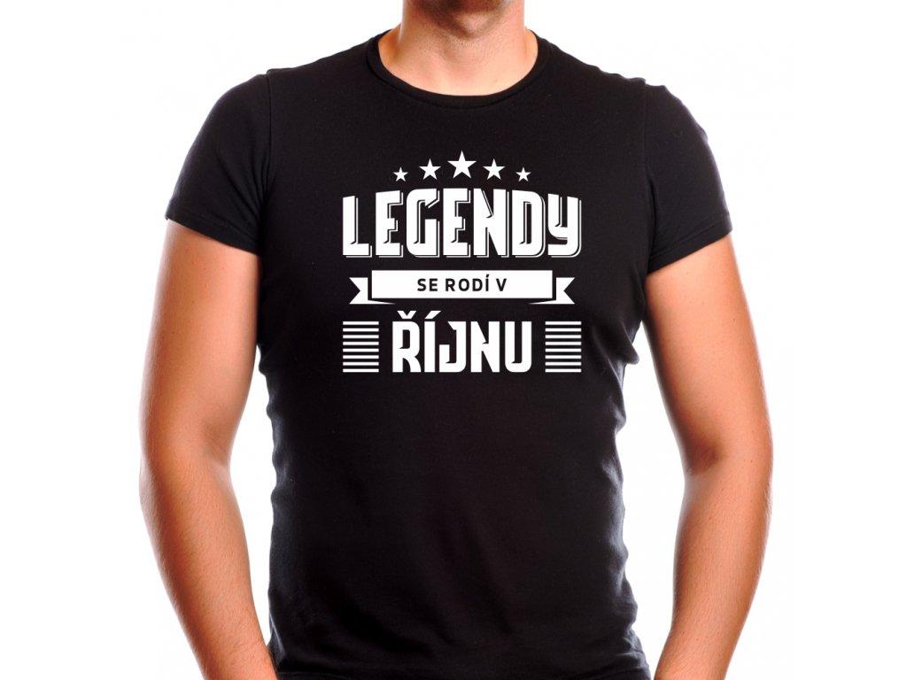 Pánské narozeninové tričko legendy se rodí v říjnu černé