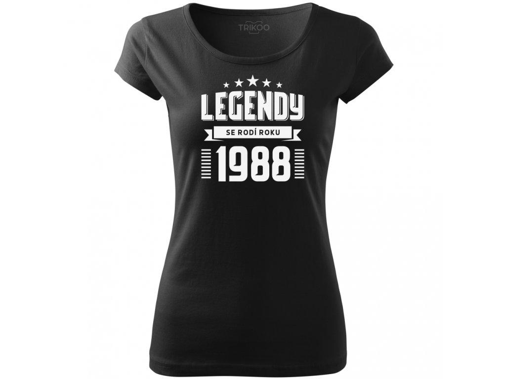 aea7f935b879 Dámské tričko k narozeninám zrození legendy ročník černé