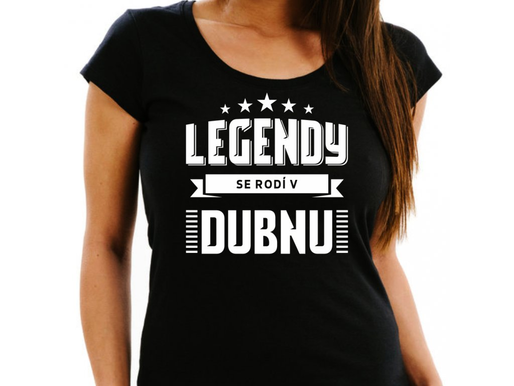 Dámské narozeninové tričko legendy se rodí v dubnu černé