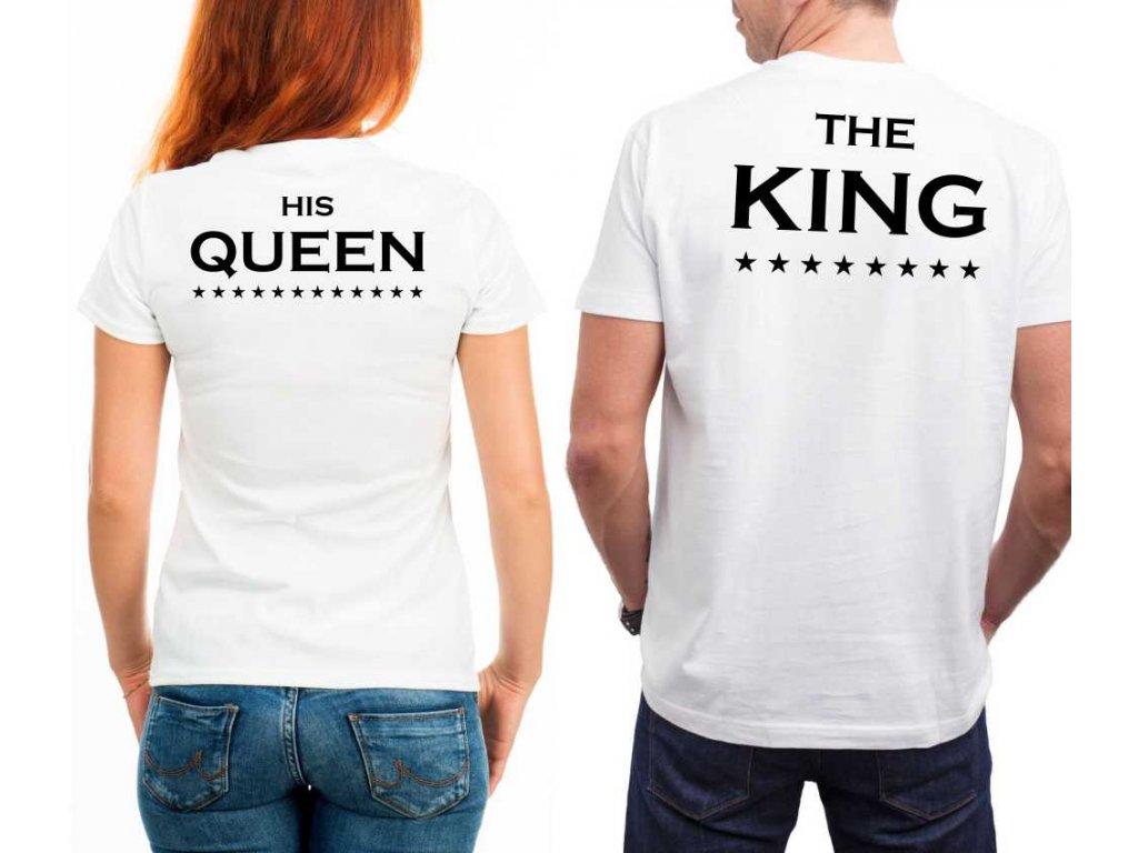 Trička pro zamilované páry King a Queen 01 BÍLÉ