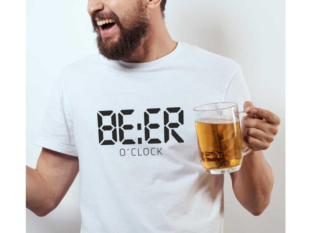 760d966d4c2 ... Pánské tričko s potiskem a nápisem BEER o´clock čas na pivo bílé ...