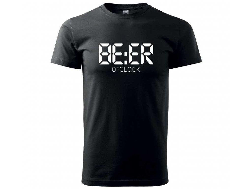 1c280ca42adc ... Pánské tričko s potiskem a nápisem BEER o´clock čas na pivo černé A ...