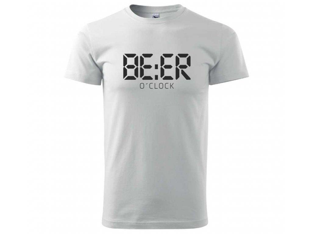 671a4e324ab7 ... Pánské tričko s potiskem a nápisem BEER o´clock čas na pivo bílé A ...
