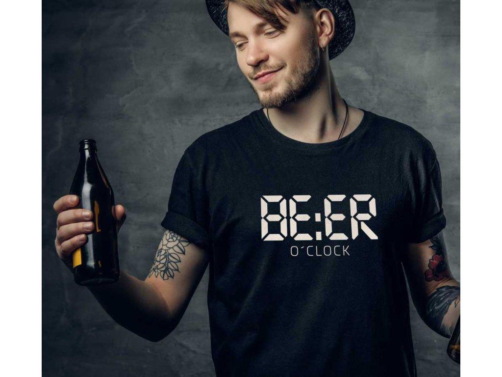 Pánské tričko s potiskem a nápisem BEER o´clock čas na pivo černé