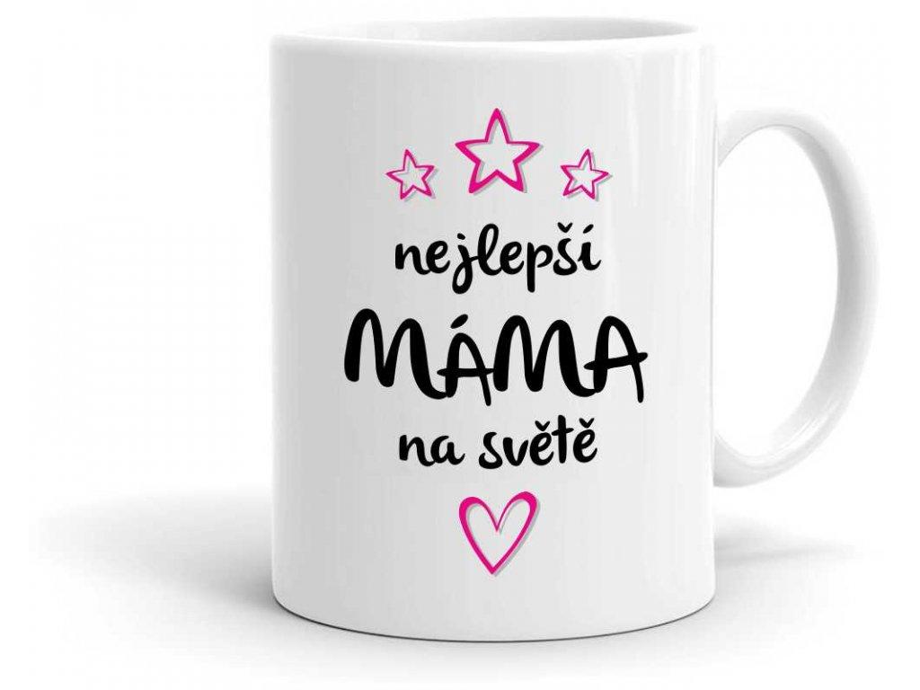 Hrneček nejlepší máma na světě černo růžový potisk