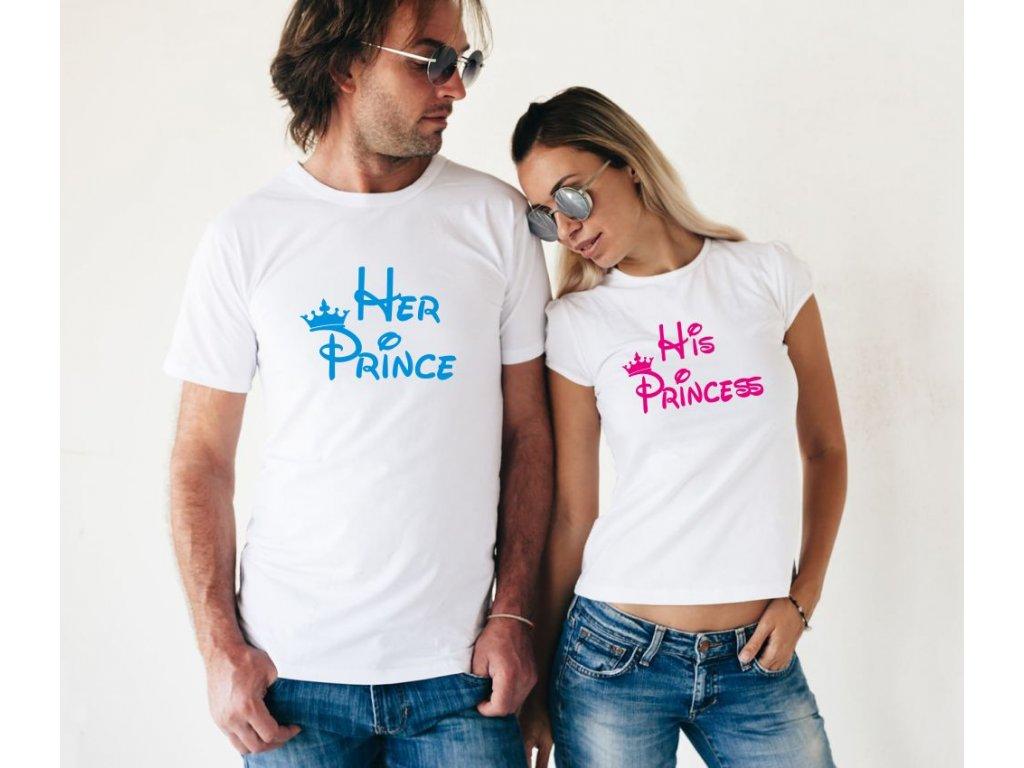 Bílé trička pro páry Prince a Princess 01