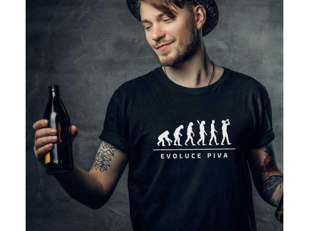 Pánské tričko s potiskem a nápisem EVOLUCE PIVA černé