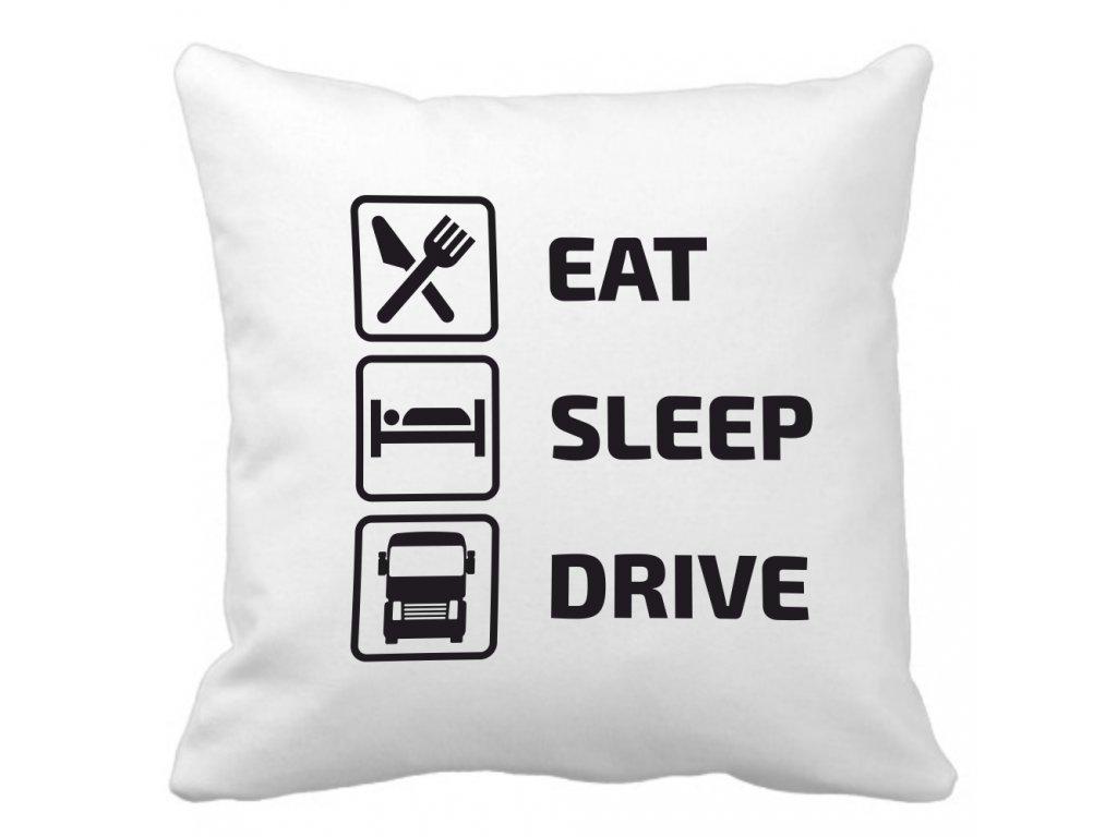 Polštářek EAT SLEEP DRIVE pro kamioňáky bílý