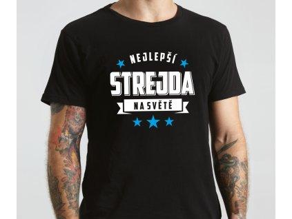 Tričko s potiskem pro strýce NEJLEPŠÍ STREJDA na světě STAR černé s bílo modrým potiskem