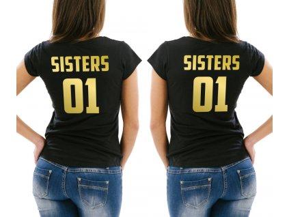 Trička pro kamarádky BFF SisterS 02 černé se zlatým potiskem